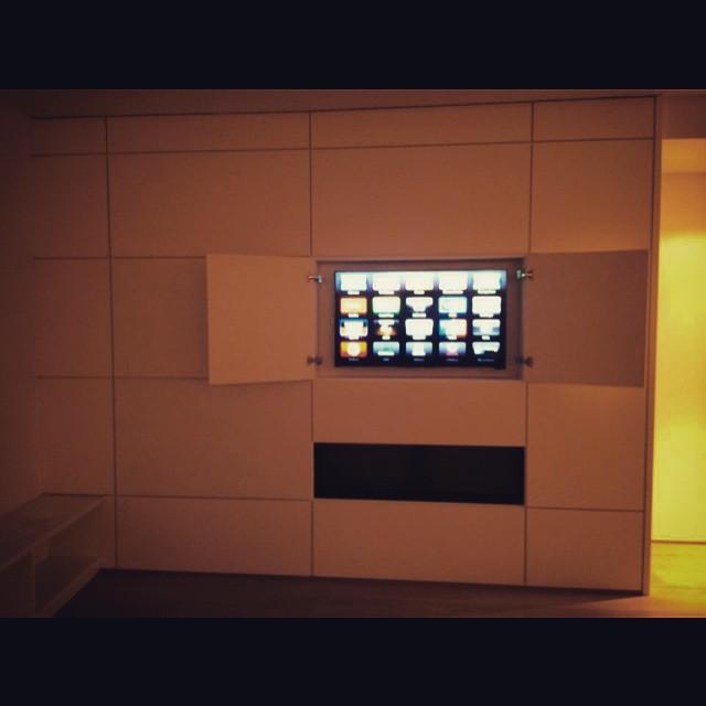 Custom and hidden. #nyavd #nyavdcrew #customtv #livingroom #sonos #builtins #wedoitbetter