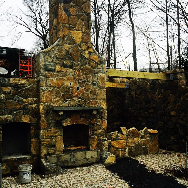 Outdoor kitchen preparation. Can't wait for finishing touches from yours truly.  #nyavd #nyavdcrew #outdoorliving #livingroom #fireplace