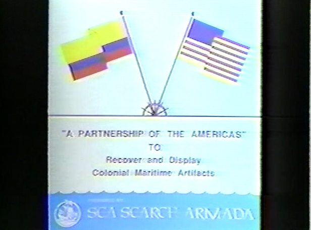 """Original Sea Search Armada banner, """"A Partnership of the Americas"""" to Recover and Display Colonial Maritime Artifacts"""