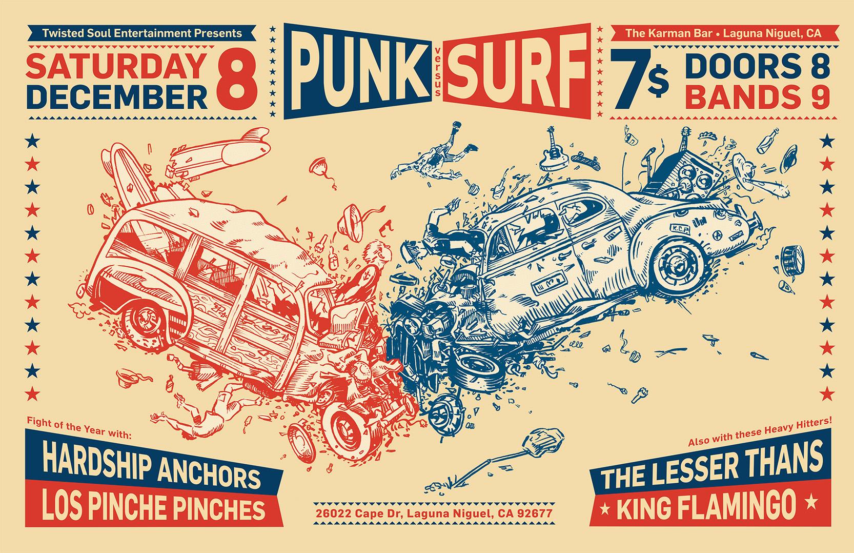 Punk vs. Surf crash poster