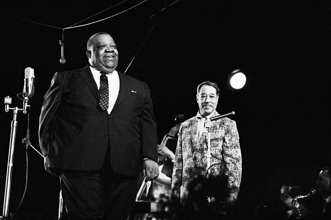 Jimmy Rushing, left, with Duke Ellington at right.