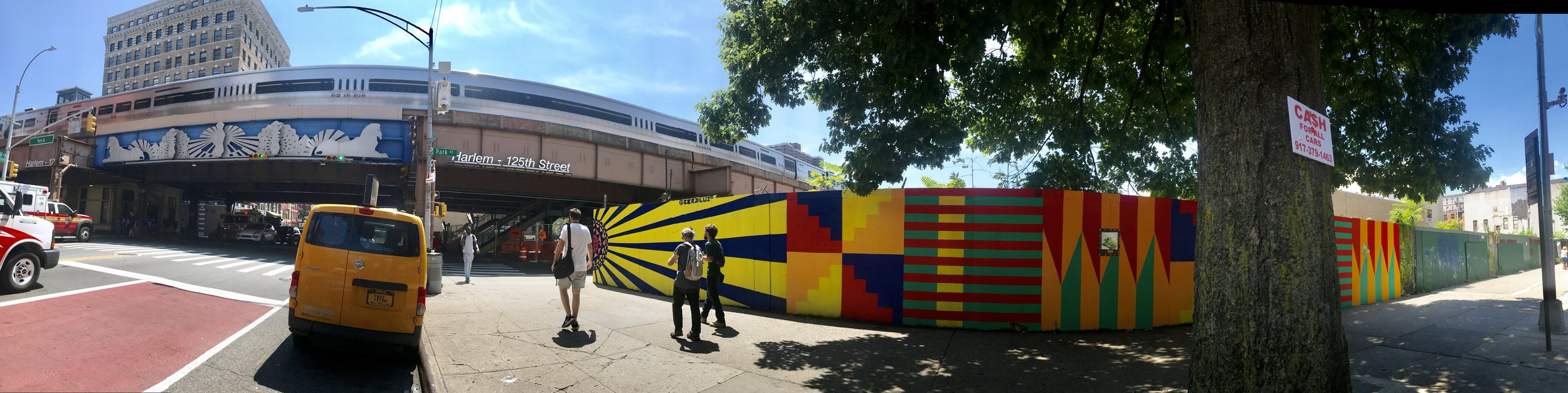 Thanks to artist Gera Lozano and crew for kicking us off with 164 feet of Uptown Sunshine Fabric on the southwest corner of 125th Street & Park Avenue. Click the photo for process pics from GothamToGo from the day of installation.