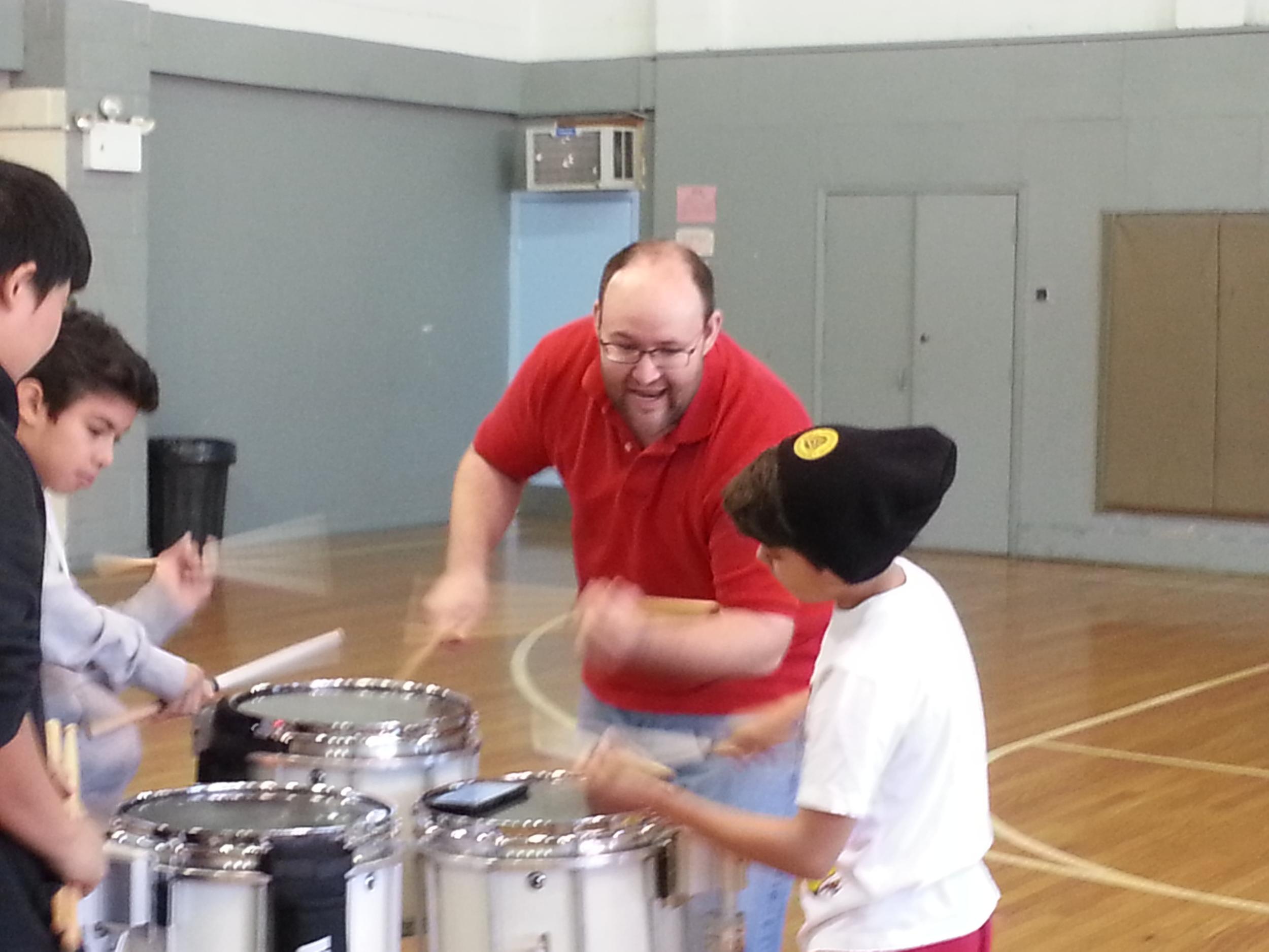 Drum Instructor Zac Robason instructing the Crimson Kings Snares