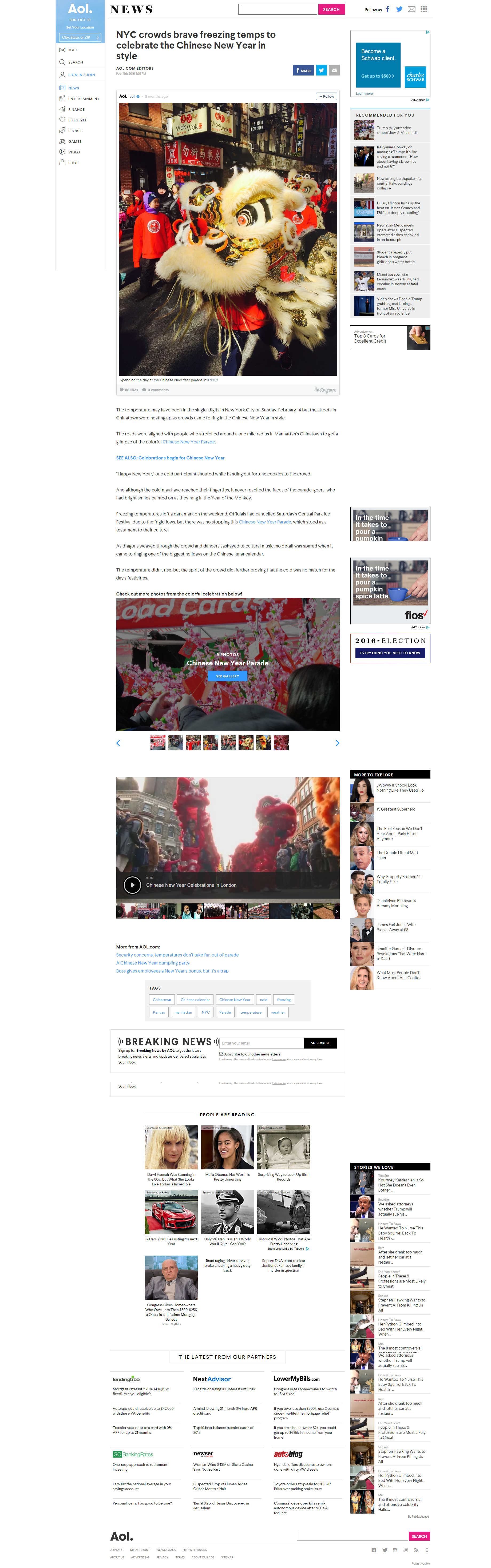 AOL News - NYC crowds brave freezing temps to celebrate the Chinese New Year in style February 15, 2016