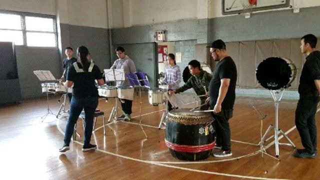 @nycrimsonkings #drumline working on the new cadence, drill maneuvers. Good rehearsal :) #nycrimsonkings #drumline #bugle #fife #colorguard #drumcorps #chinatown #marchck