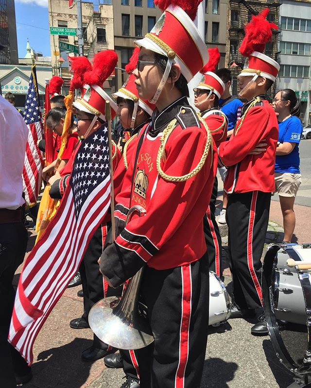 Veterans, active members, and those who have been laid to rest—thank you for you service. The @nycrimsonkings are proud to be a part of today's ceremonies. . . . #memorialday #thankyou #newyork #chinatown #drumcorps #marchingband