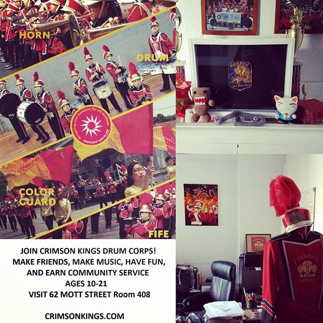 Great seeing you at the Corps again!  Join Crimson Kings Drum Corps! Make Friends, make music, have fun and earn community service Ages 10-21  Visit 62 Mott Street Room 408  Know someone interested or want to help?  Share the E flyer. Thanks! Crimsonkings.com  #drumcorps #crimsonkings #newyork #chinatown #drumline #horn #fife #colorguard