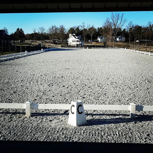 The ring is up! Contact us if you want to come school before the shows! #showready #getready #dressage