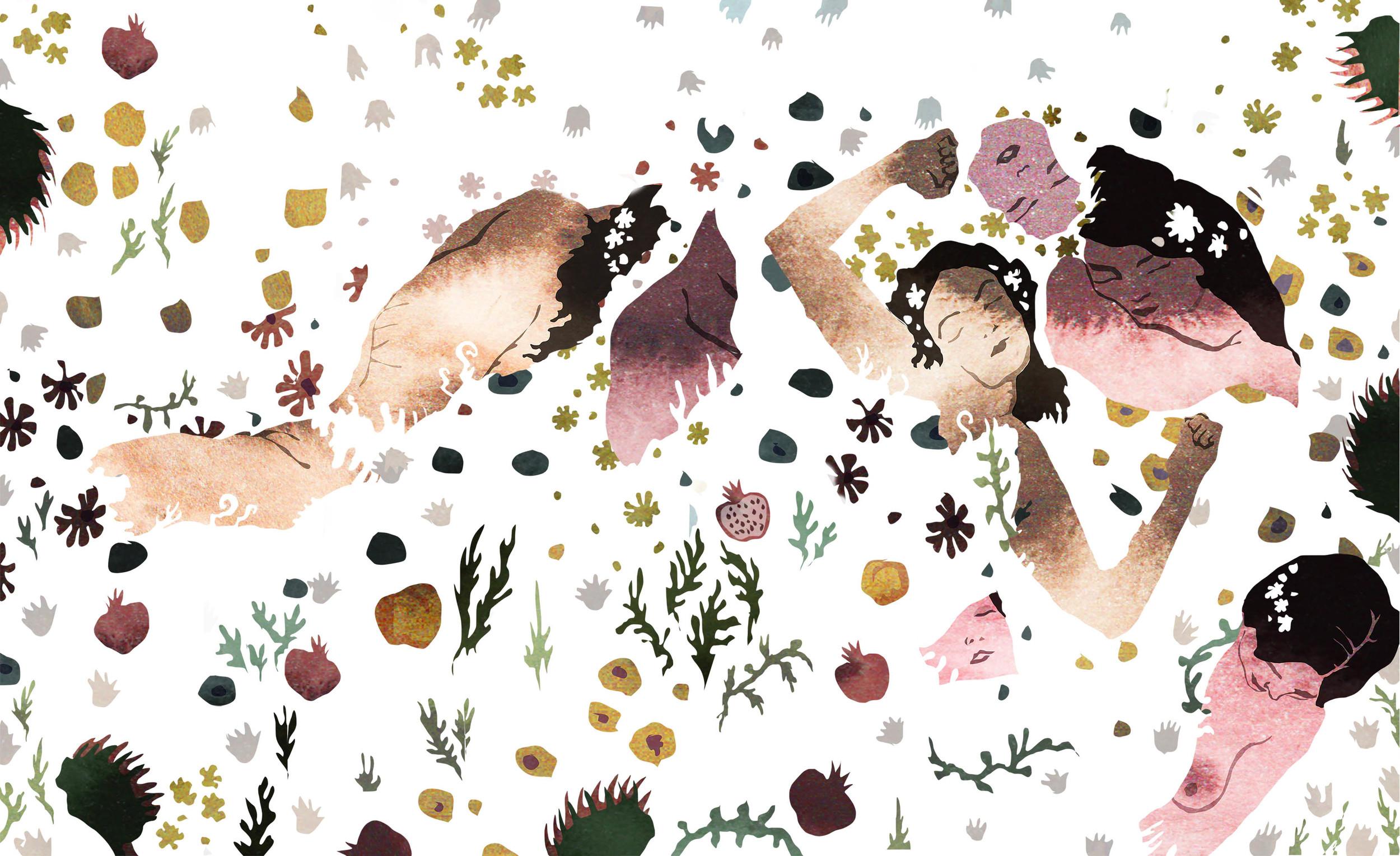 Forbidden Fruit (After Klimt), digital with traditional ink textures, 2015