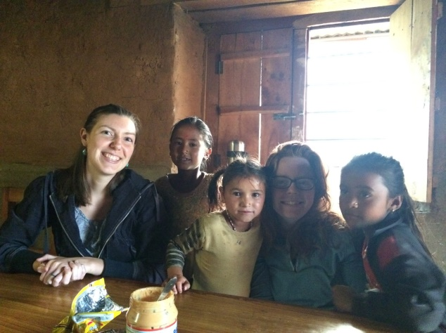 Annie and Sarah with staff children Asuta, Jamuna, and Asmita in the Kitchen!