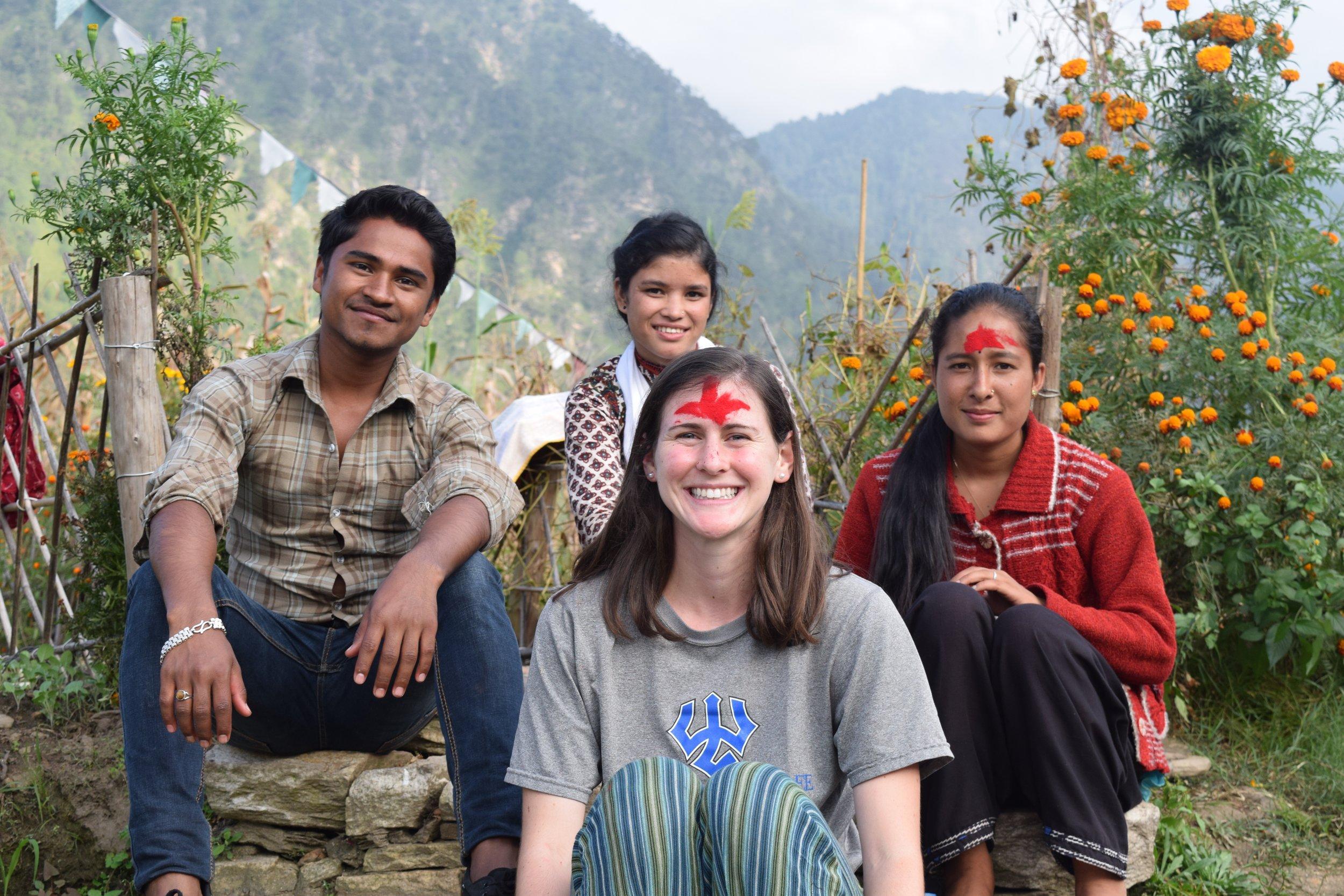 Sitting with Nirendra, Purna, and Kalashah.
