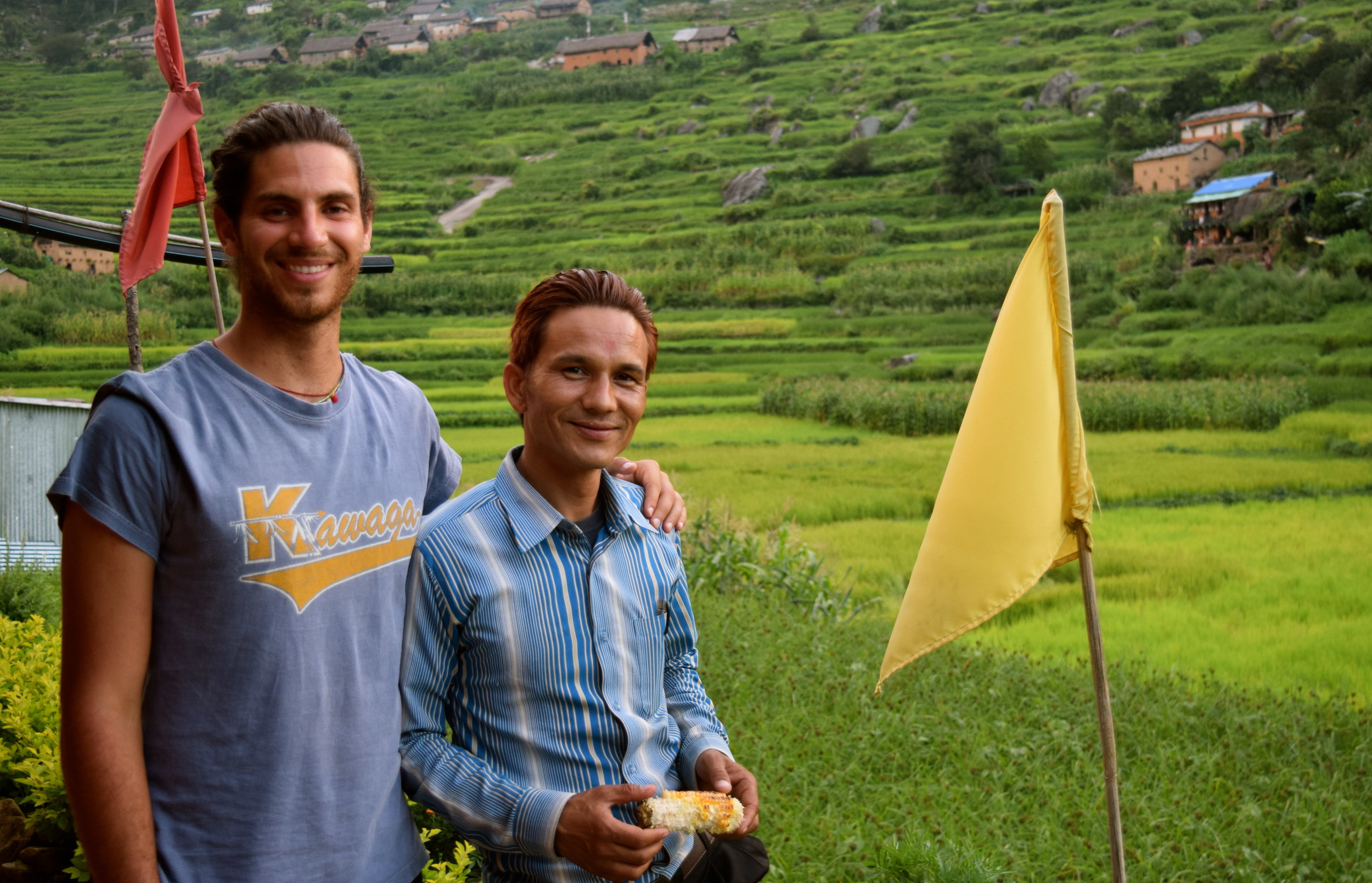 Our former education fellow and current transition fellow Nick Kraft with Nepali teacher, Purna
