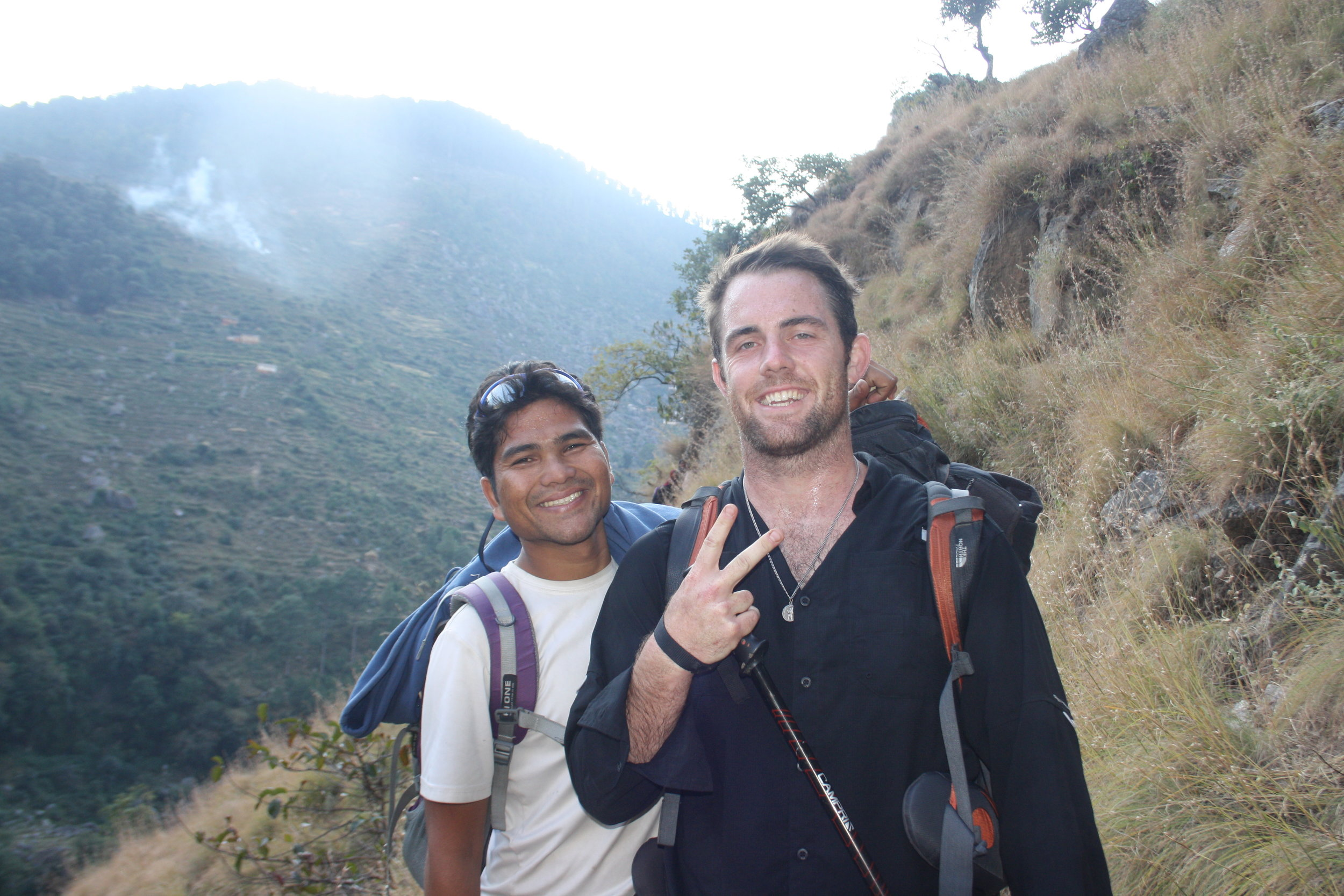 John and Karan hiking into Oda on one of their first trips together in Kalikot.