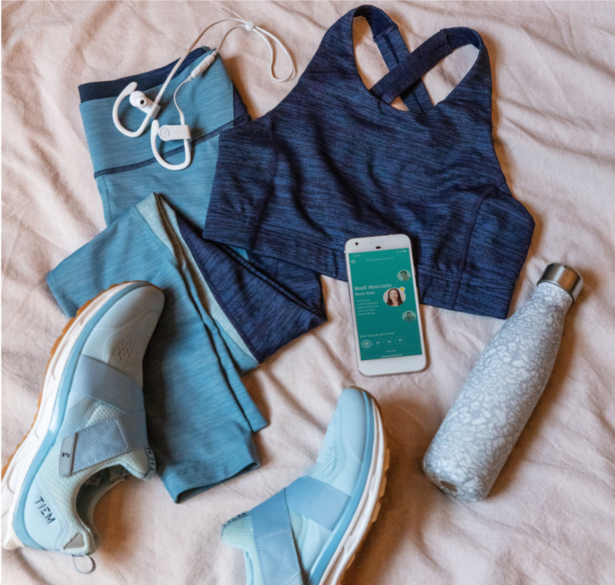 All you need to get riding (and a bike, of course). Pictured about is a Outdoor Voices Tech Sweat Kit (bra and leggings), TIEM Athletic cycling shoes, a Swell water bottle, and Beats headphones.