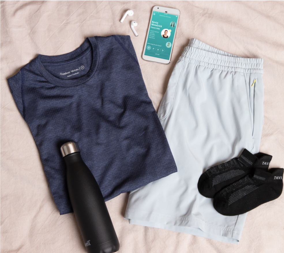 Pictured Above: Outdoor Voices EcoMesh T-Shift & Rec Shorts, Tavi Noir's Taylor Cushion Cycle Socks, and Swell water bottle.
