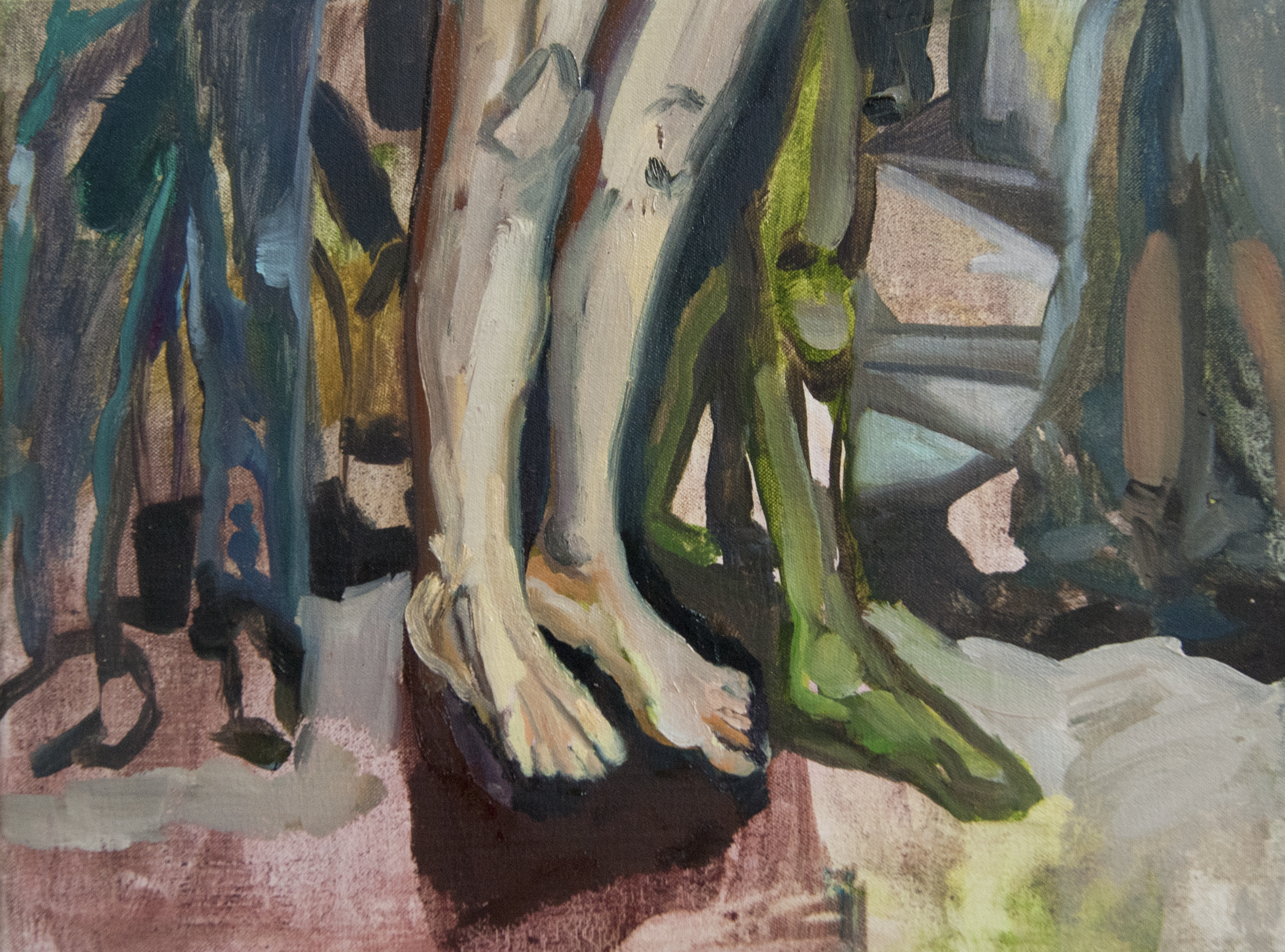 Belief in everything (superhero legs), 2013, oil on canvas, 12 x 16 inches.