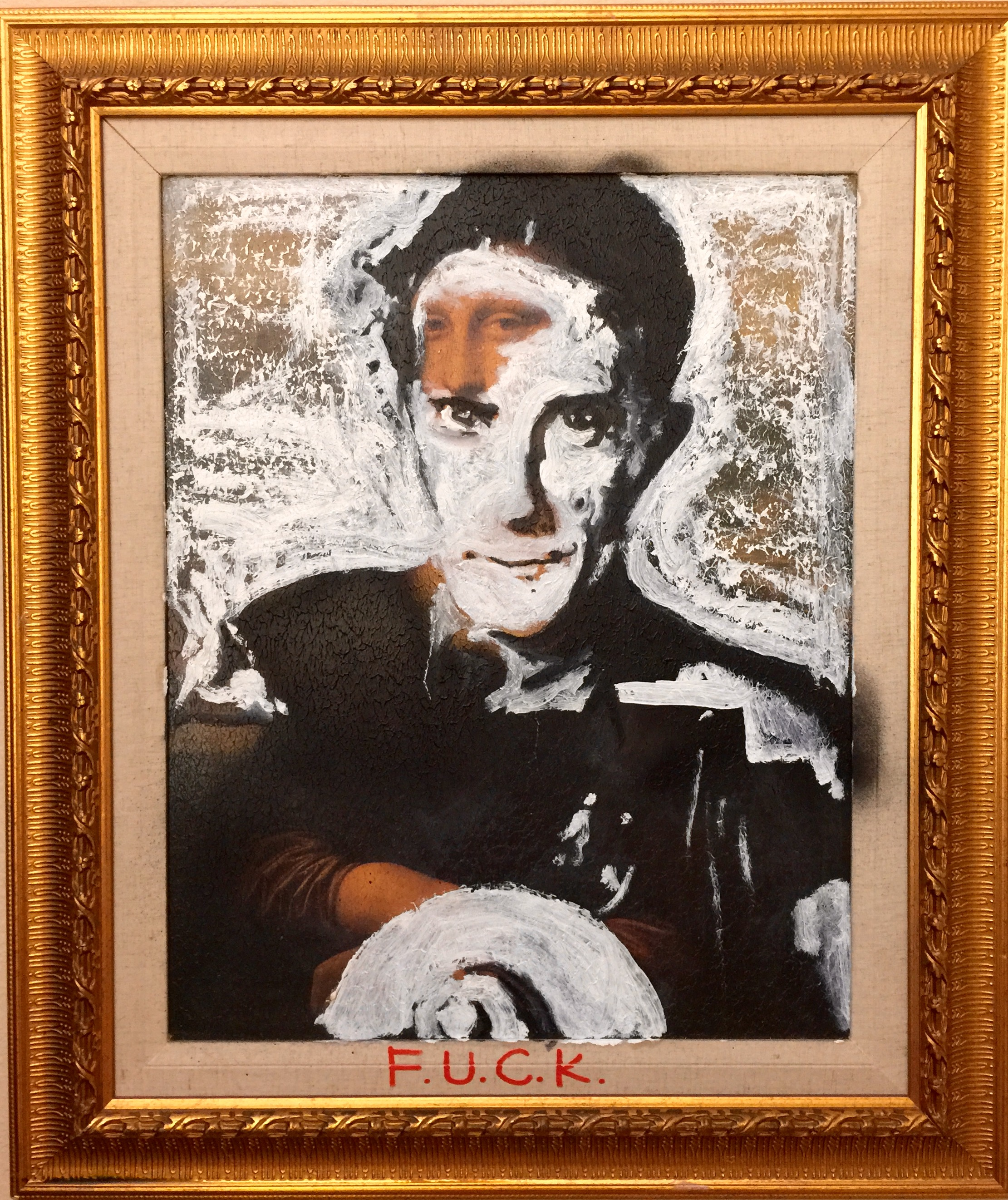 """If You See Kay"" Marcel Duchamp Portrait by Matt Pecson, Oil on Mona Lisa Giclee, 18x24"