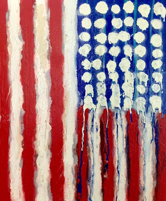 American Flag, 20x24, Acrylic on Canvas