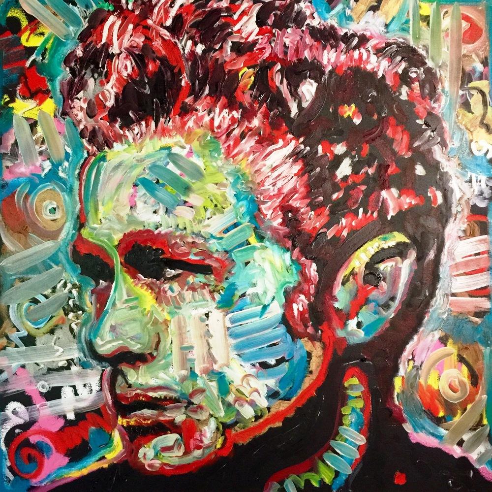 """Machine Gun"", James Dean, 36x36, Oil on Canvas"