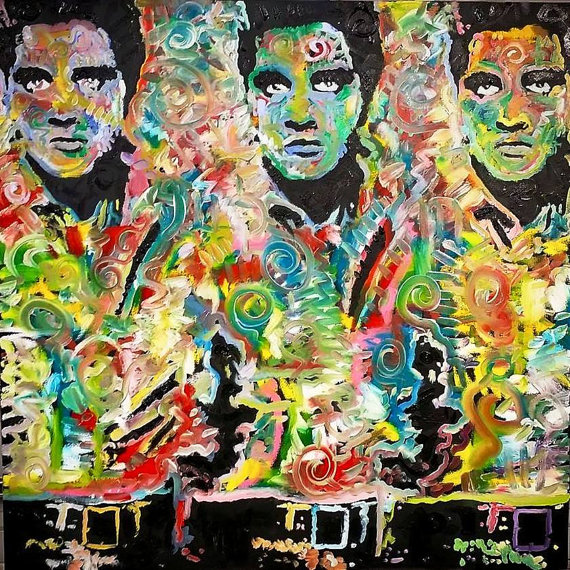 """Three Musicians"" Elvis Presley, 36x36, Oil on Canvas"