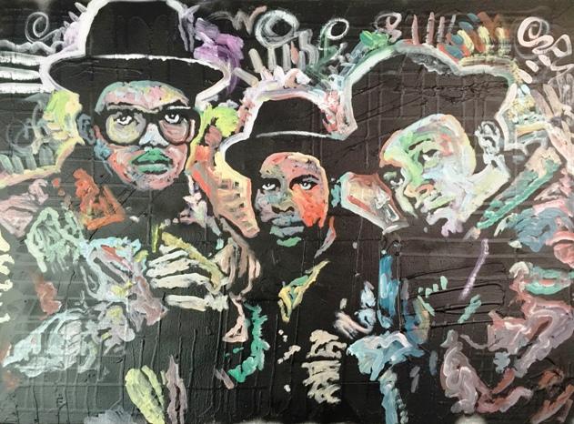 "Run DMC ""Raising Hell"", 24x18, Mixed on Canvas"