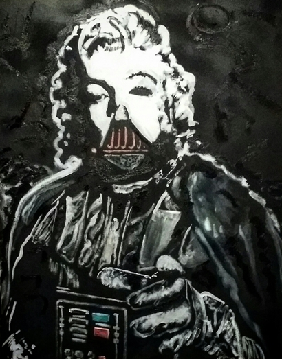 """Deathstar"" Marilyn Monroe / Darth Vader, 16x20, Oil on Wood Artist Board"