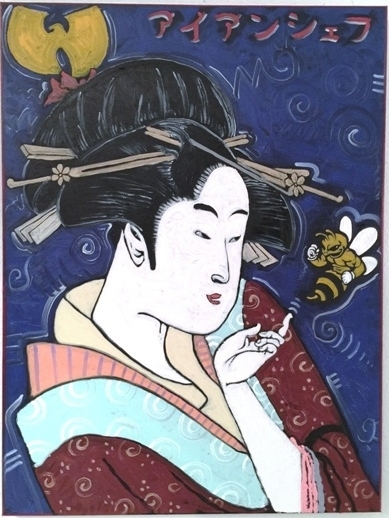 """Killa Beez"" Wu-tang Clan / Japanese Woodcut Geisha / Ironchef, 30x40, Oil on Canvas"
