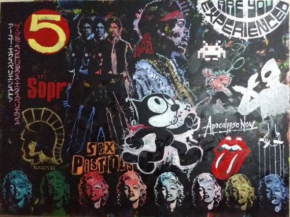 """Bootleg"" Jimi Hendrix / Marilyn Monroe / Space Invaders / Felix the Cat / Rolling Stones / The Sopranos / Ultraman / Apocalypse Now / Star Wars' Han Solo / Trojan Condoms Logo / The Godfather / Sex Pistols / Speed Racer, 108x72, Mixed on Canvas"