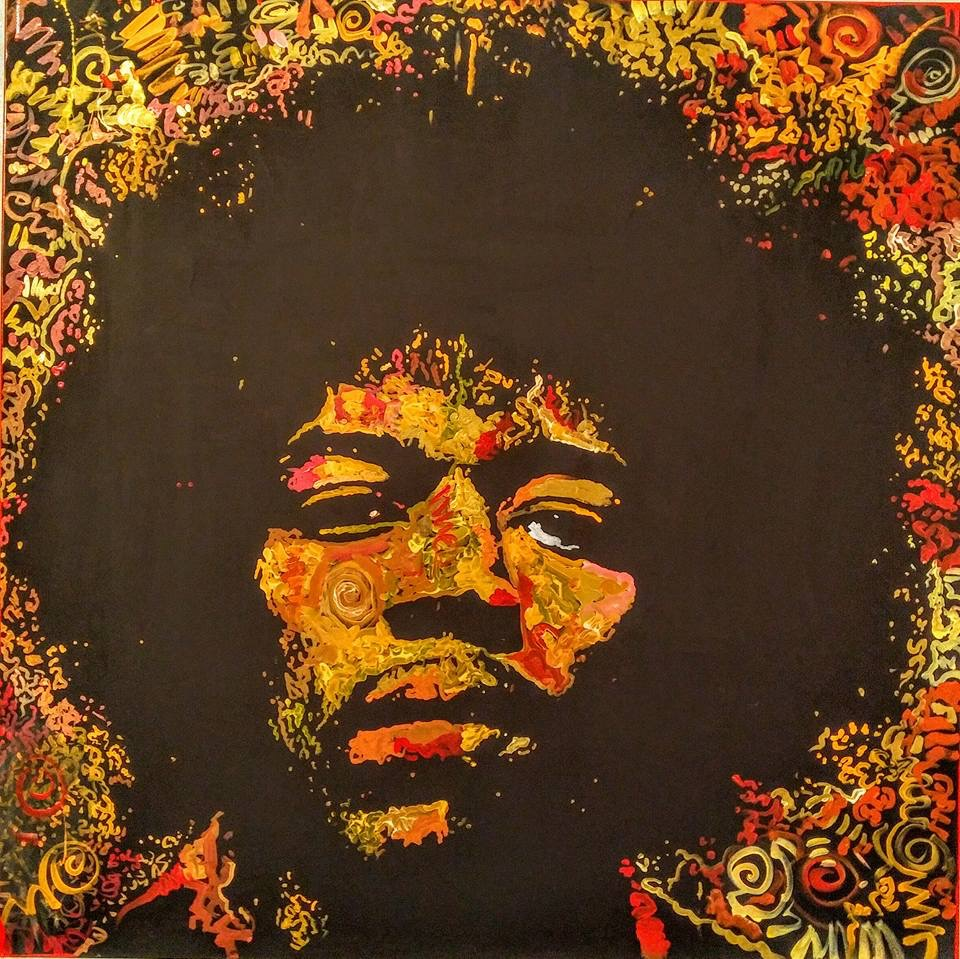 """Spanish Castle Magic"", Jimi Hendrix, 48x48, Acrylic on Canvas"