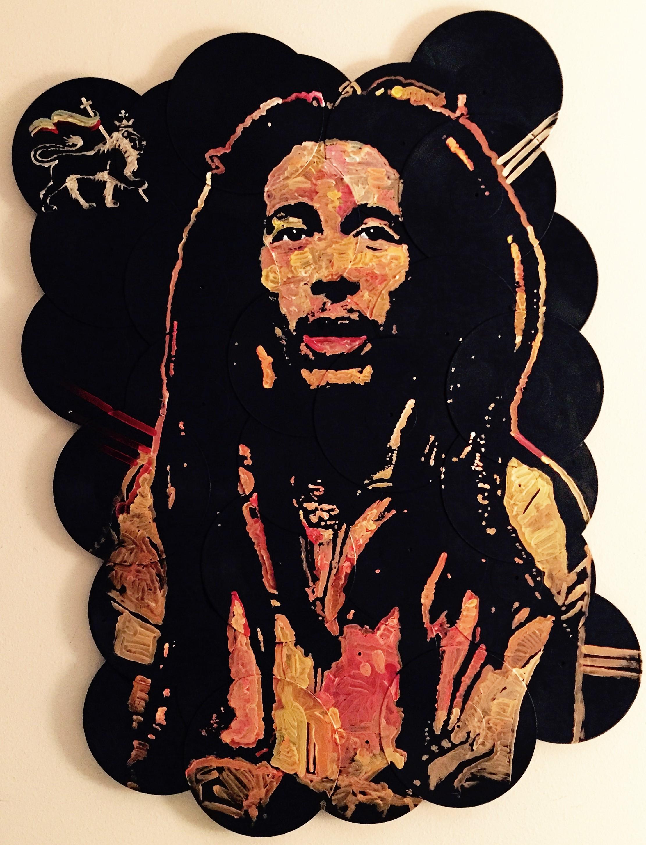 """Iron Lion Zion"", Bob Marley, 48x60, Acrylic on Vinyl Records"