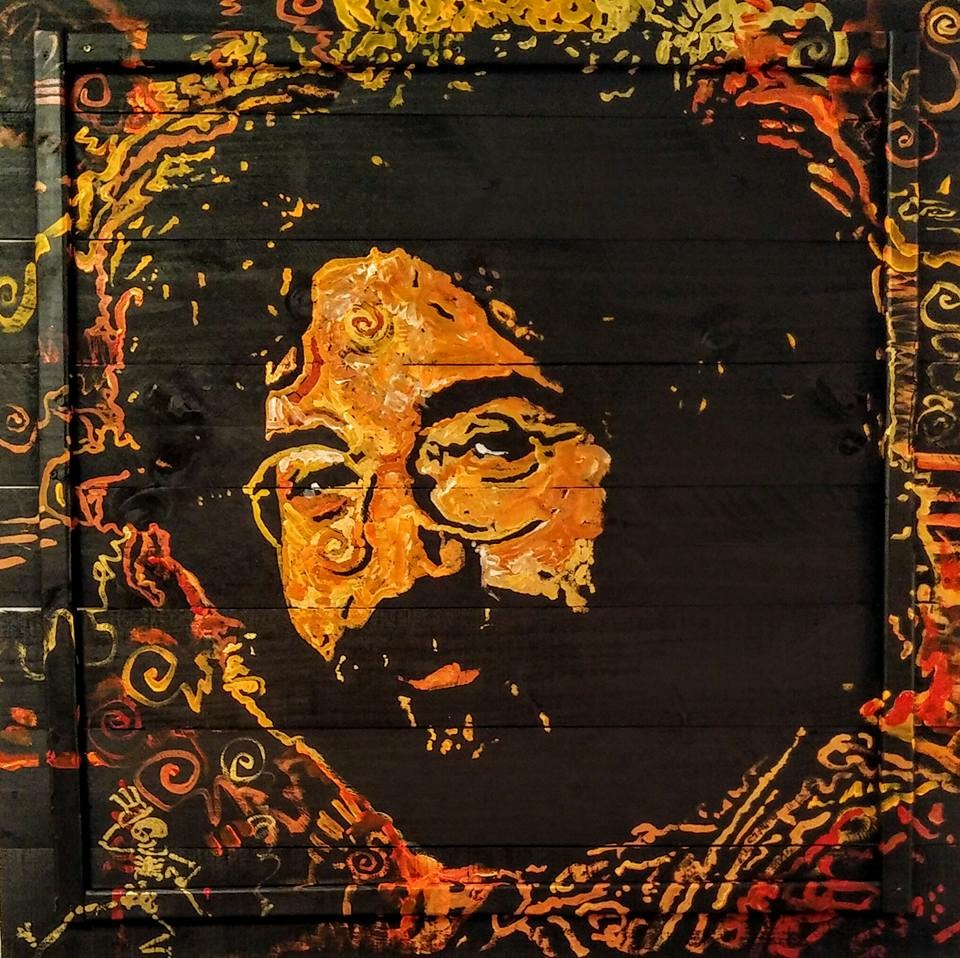"""""""Captain Trips"""", Jerry Garcia of the Grateful Dead, 45x45, Acrylic on Wood"""