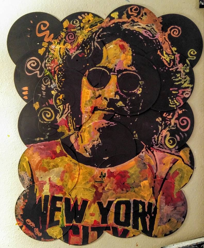 """Instant Karma"", John Lennon, 36x48, Acrylic on Vinyl Records"