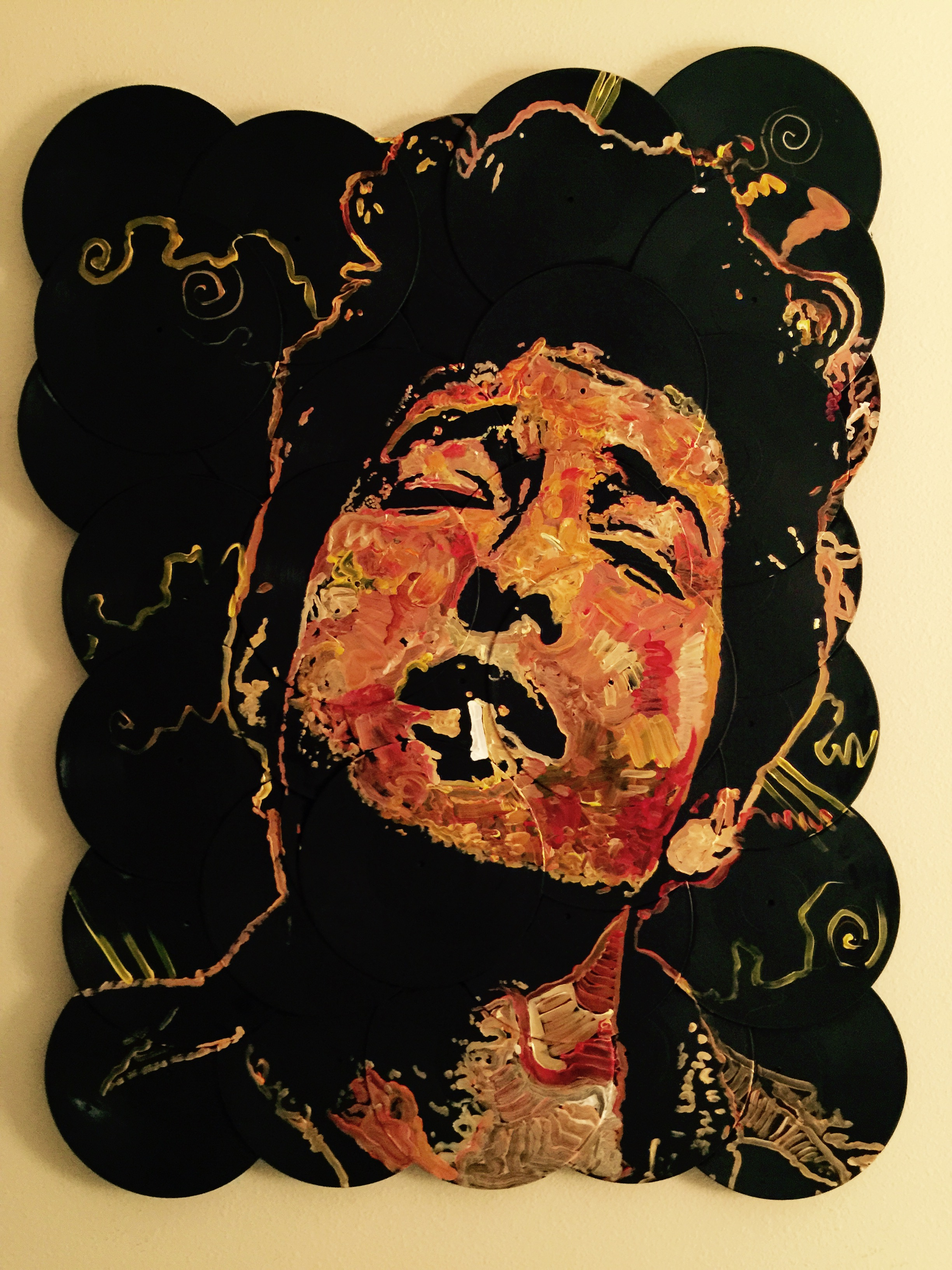 """""""A Complete Unknown"""", Bob Dylan, 48x60, Acrylic on Vinyl Records"""