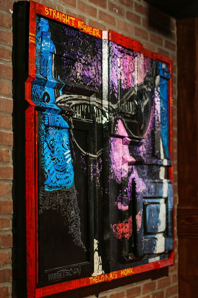"""Thelonious Monk, 60""""x48"""", Acrylic on Reclaimed Wood and Wood Cabinet Doors"""