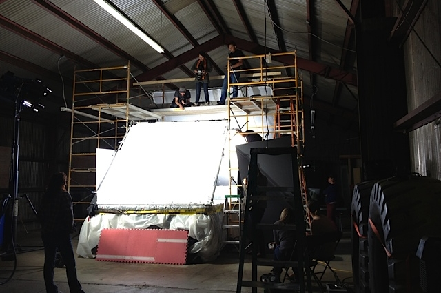 The set showing the shooting platform above the tank.