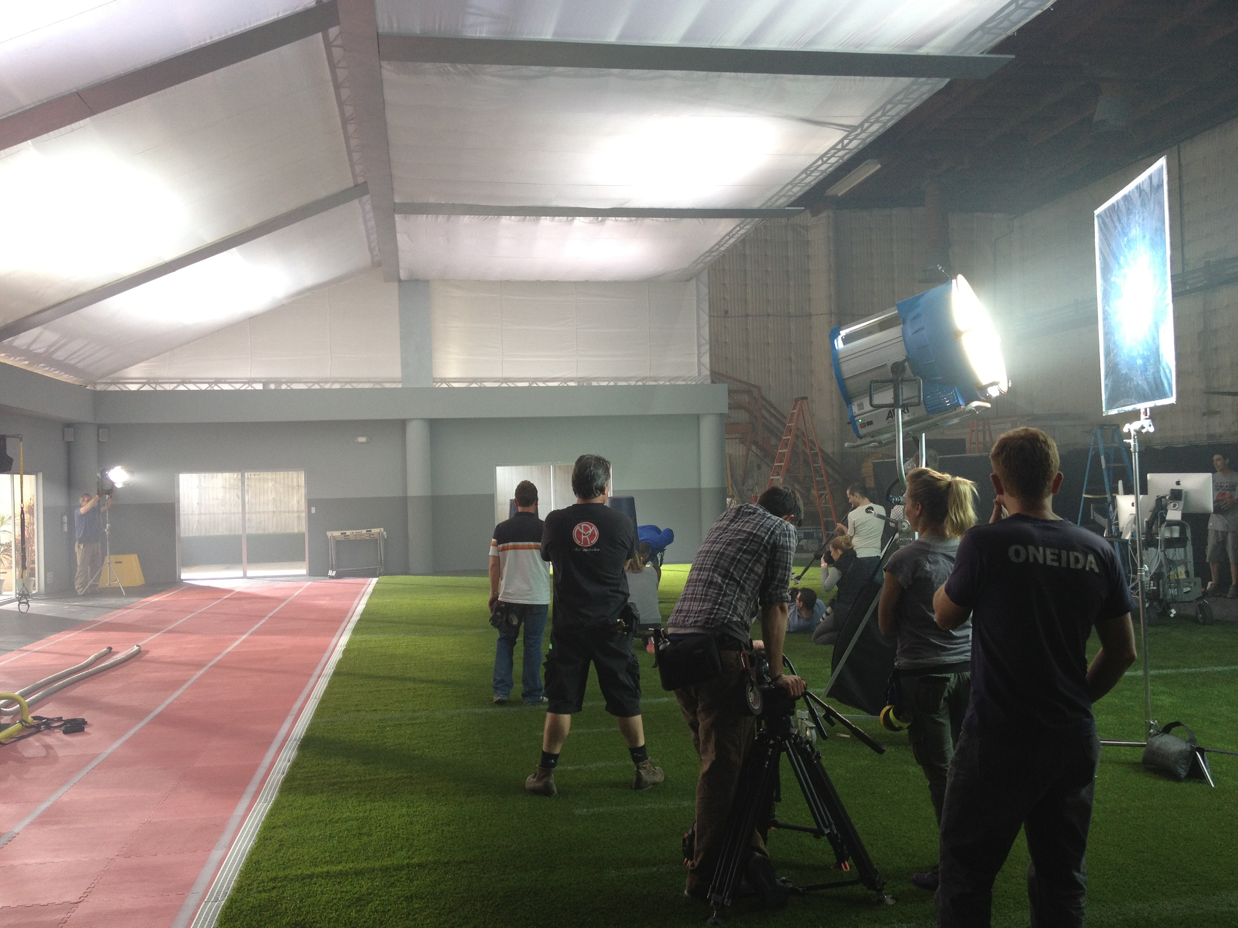 Shooting on the field house set.
