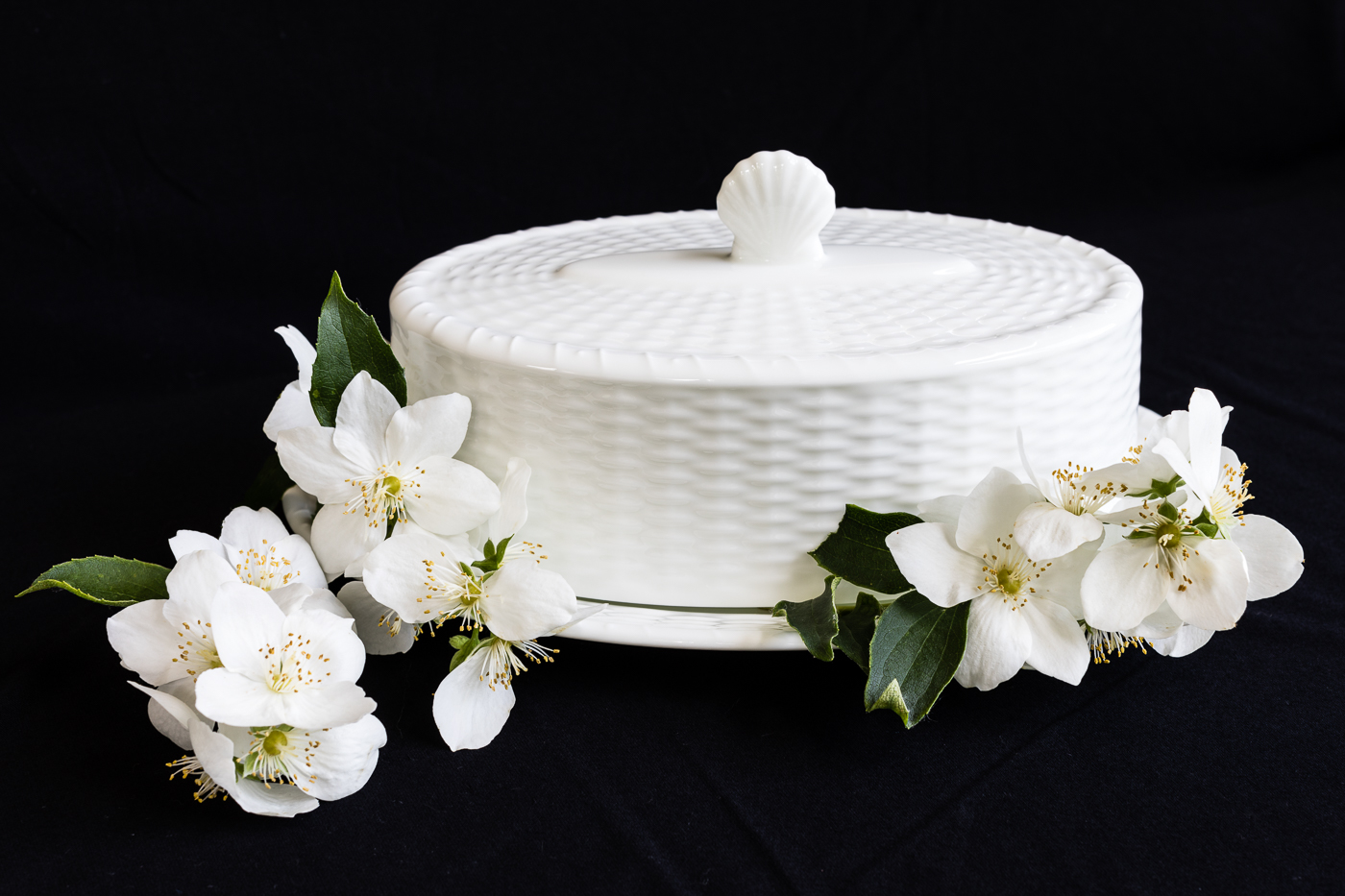 Covered Dish with Orange Blossoms