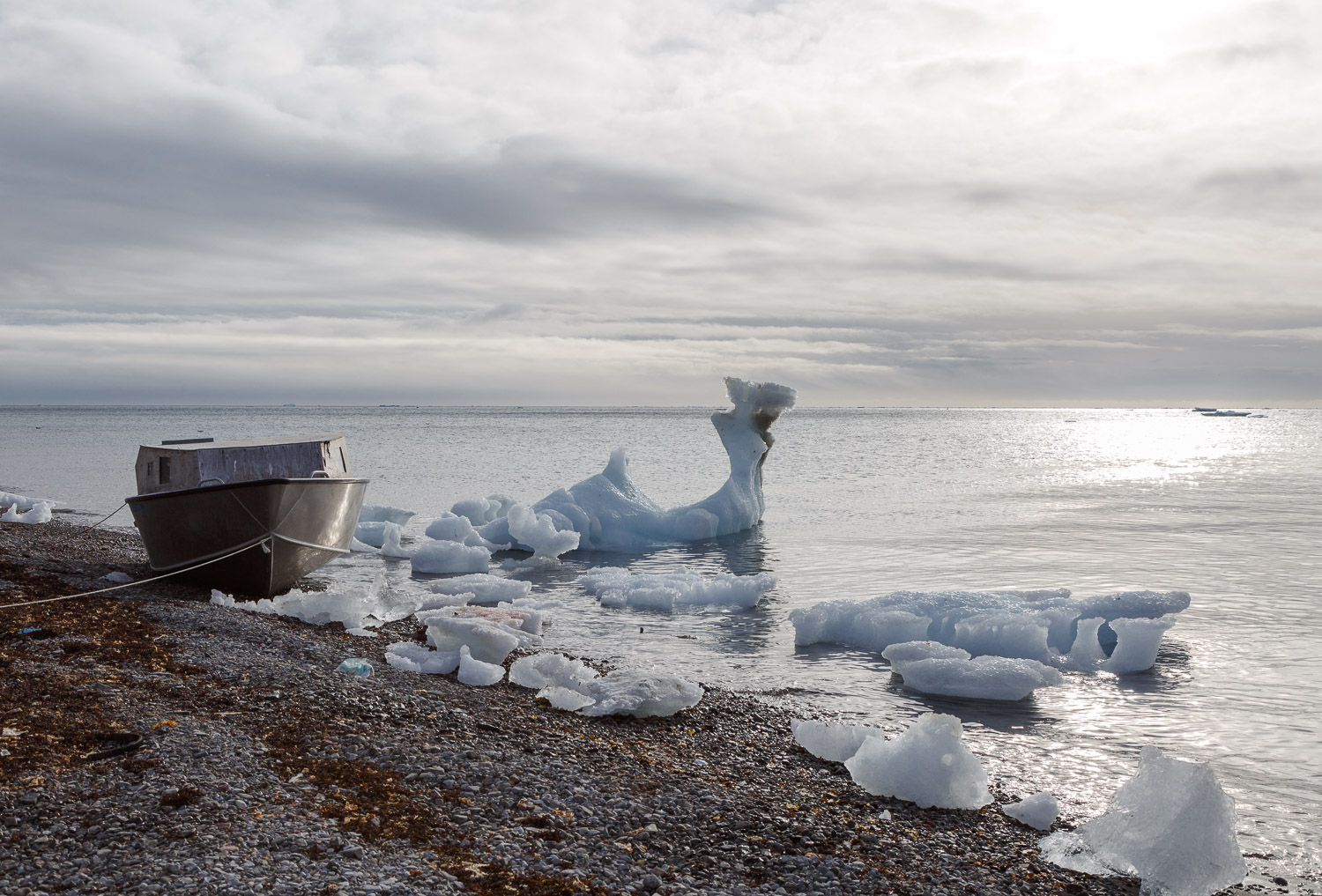Small Boat with Shore Ice, Grise Fiord