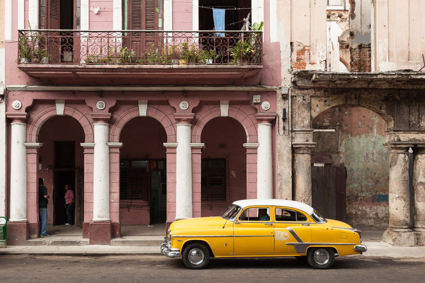Restored Building and Old Car in Havana
