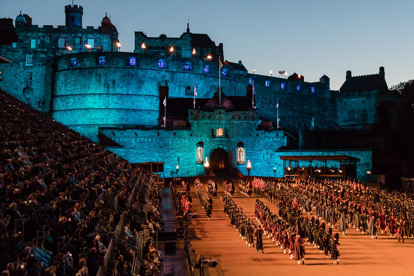 Edinburgh Castle Lit for the Tattoo