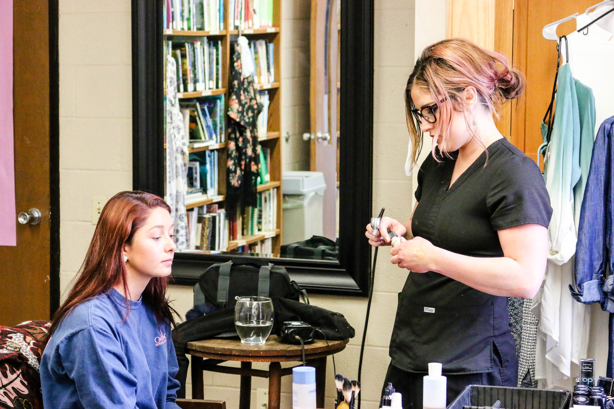 Rachel having her makeup done