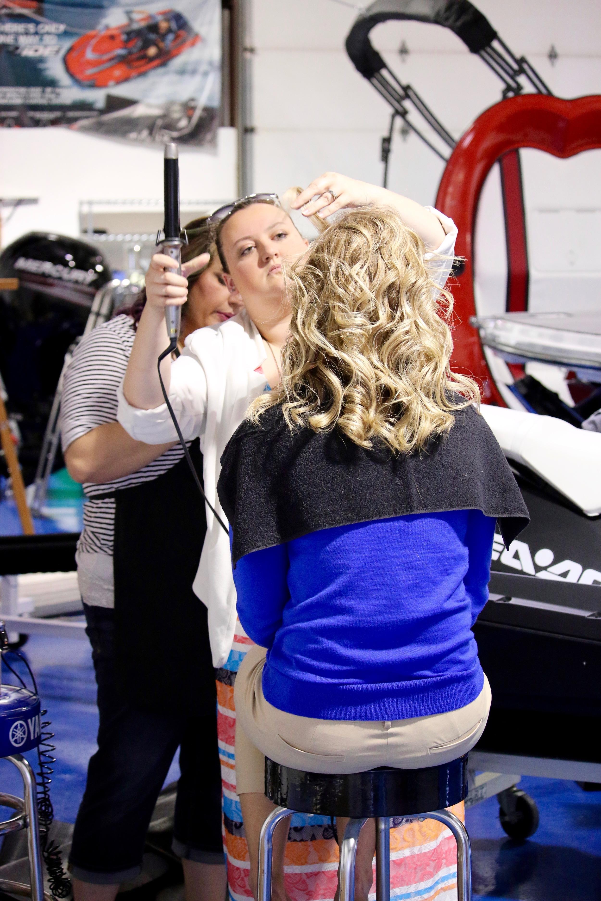 Heidi Furling of Full Blown Salon Doing Allie Fitzgerald's make up.