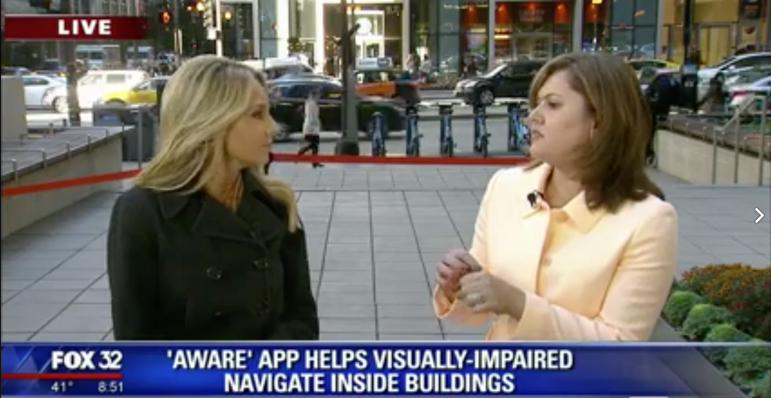 Natalie Bomke and Sensible Innovations founder and creator of the Aware app live at Fox 32 in Chicago.