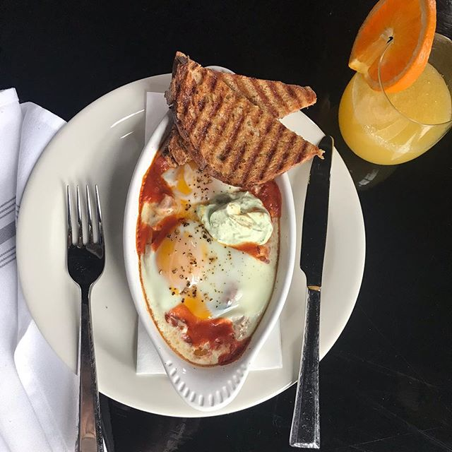 Shakshuka, egg, herbed yogurt, chili oil, quinoa toast 👌