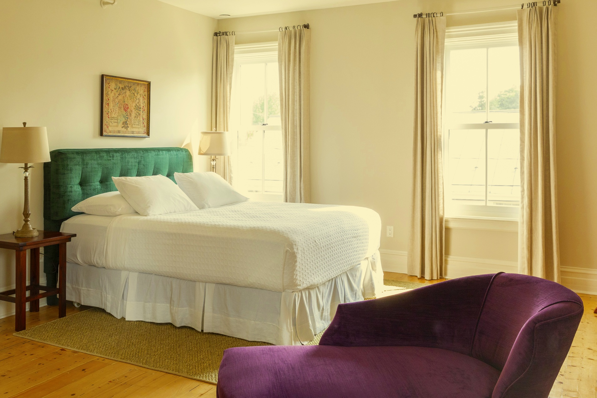 Rooms - Relax in our luxurious bedding, robes and slippers and custom amenities. Continental breakfast included.