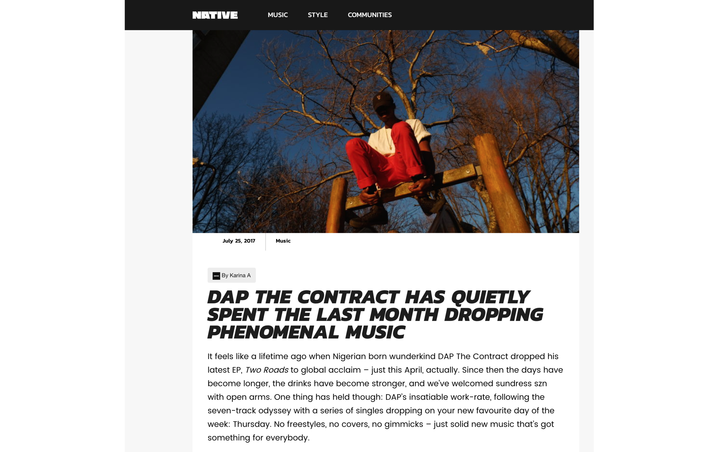 http://thenativemag.com/music/dap-contract-quietly-spent-last-month-dropping-phenomenal-music/ (Written by Karina So (@whatkarinasaid)