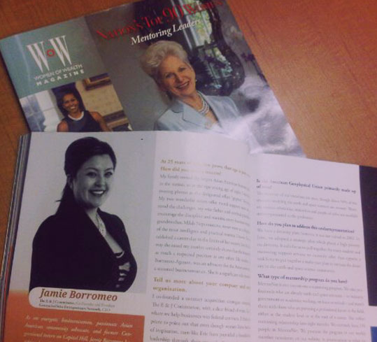 """Jamie Borromeo appears in WOW Magazine's 2011 Issue as one of """"America's Top Women Mentoring Leaders."""""""