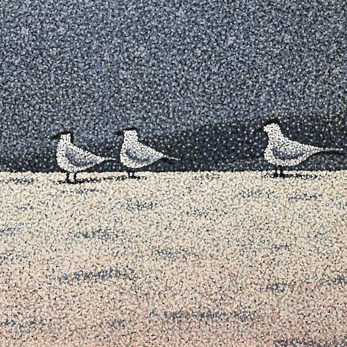 "Progress image for ""Three Sentries"", 3' x 4', Acrylic on Canvas"