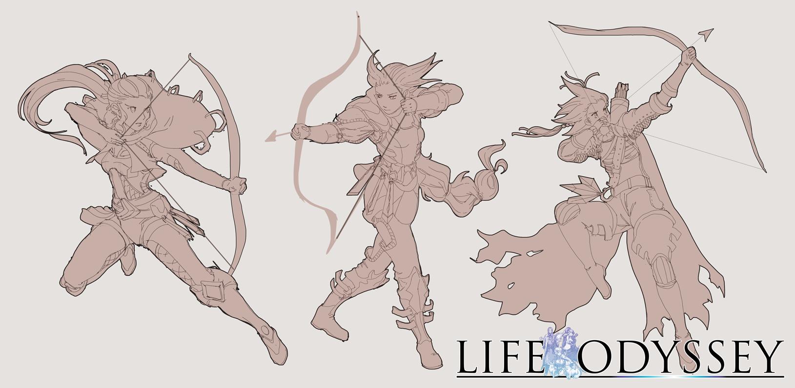 Female Archer - Character Design (Exploration Sketches)