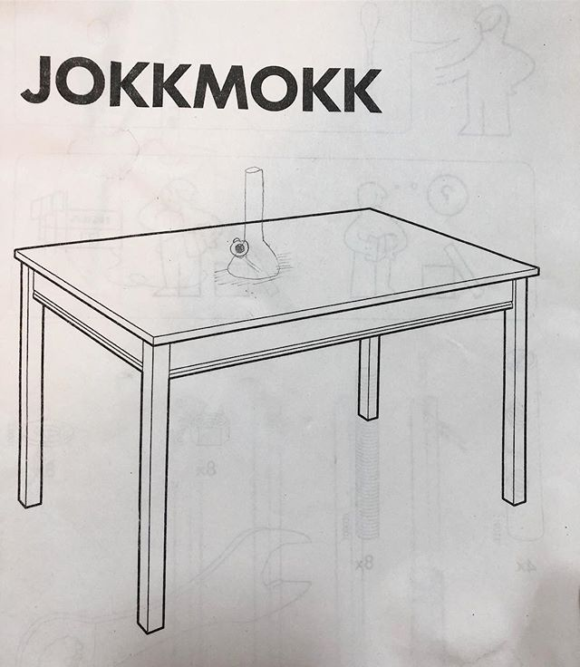Table with bong. Graphite on IKEA instructions.
